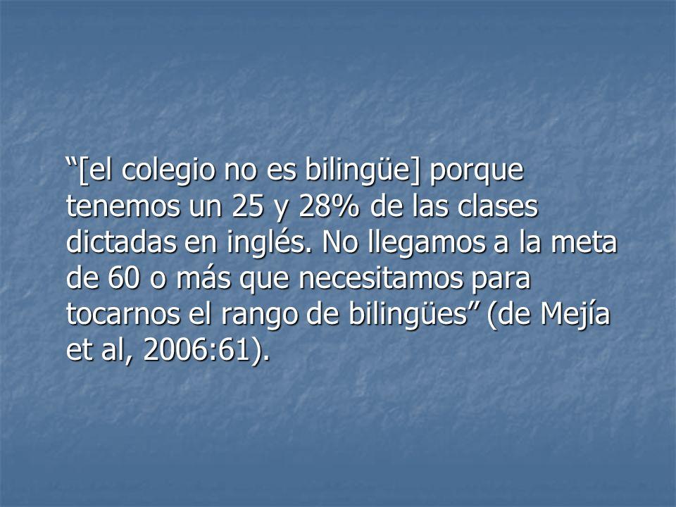 [el colegio no es bilingüe] porque tenemos un 25 y 28% de las clases dictadas en inglés.